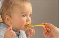Baby fed with spoon